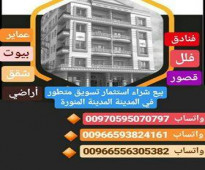 اراضى تجارية وسكنية للبيع فى المدينة المنورة فى السلام وحمراء الاسد