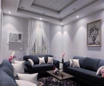 شقة مفروشة جديدة فاخرة جدا ثلاث غرف وصالة - للايجار