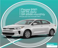 Kia Pegas 2021 for rent in Dammam and Riyadh